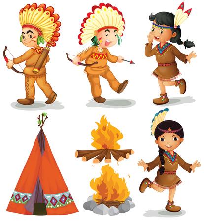indios americanos: Ilustración de los indios americanos en diferentes poses