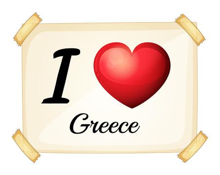 Illustration of I love Greece sign Vector