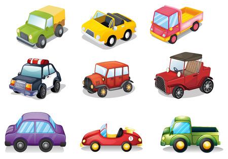 camioneta pick up: Ilustración de diferentes tipos de juguetes