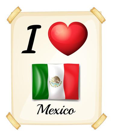 rectángulo: Un cartel que muestra el amor de M�xico sobre un fondo blanco Vectores
