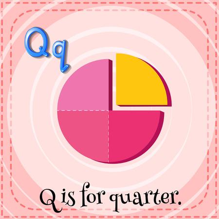 quarters: Illustration of a letter Q is for quarter Illustration