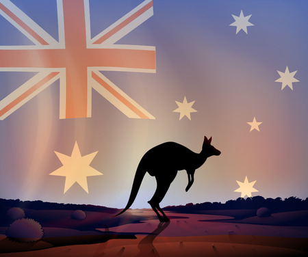 australia landscape: Illustration of an australian flag and a kangaroo