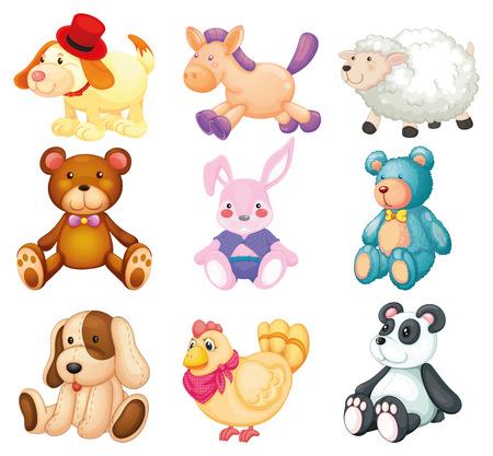 Illustration of many stuffed animals