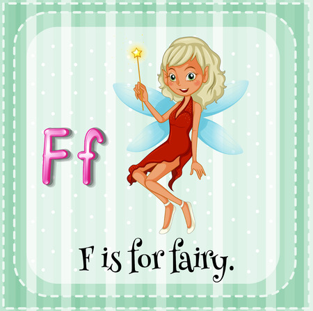 linguistic: Illustration of a letter F is for fairy