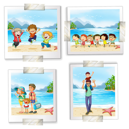 Four different pictures at the beach on a white background Vector