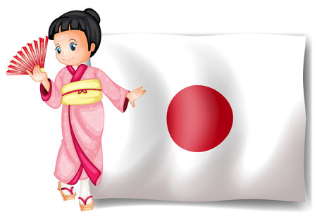 japanese flag: Illustration of a japanese flag and a girl
