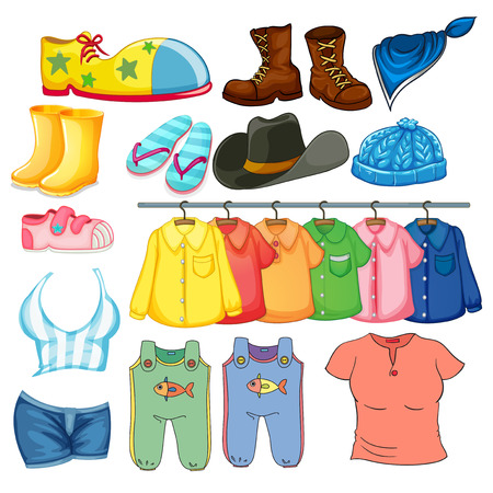 clothes cartoon: Illustration of different design of lothes