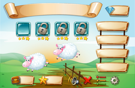 sheeps: Illustration of a scene from a computer game with sheeps Illustration