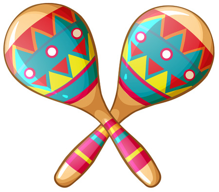 mexico: Illustration of a pair of maracas Illustration