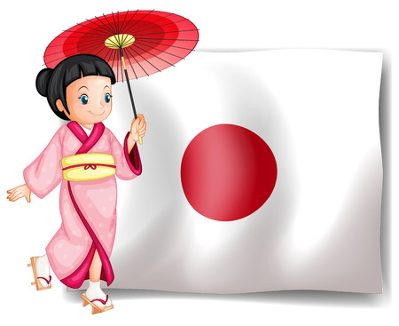 A Japanese lady on a white background  イラスト・ベクター素材