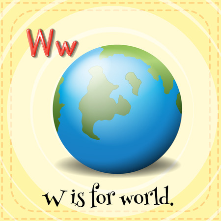 which: A letter W which stands for world Illustration