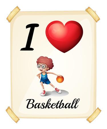 rectángulo: Un cartel que muestra el amor de baloncesto en un fondo blanco