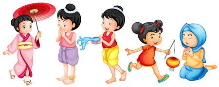 niño orando: Ilustración de diferentes chicas asiáticas Vectores