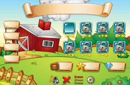 computer game: Illustration of a computer game with farm background