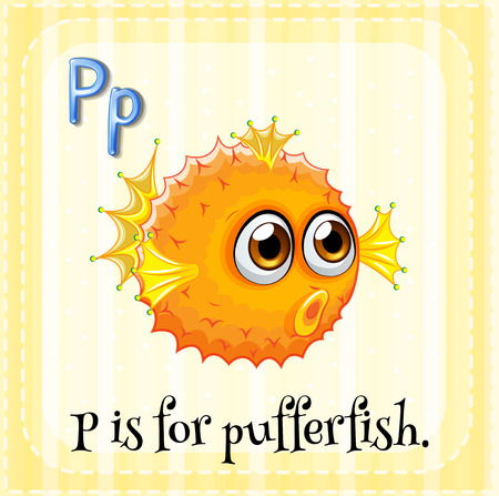 swiming: Illustration of a letter P is for pufferfish