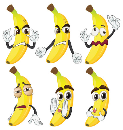 Illustration of banana in different emotions Vector