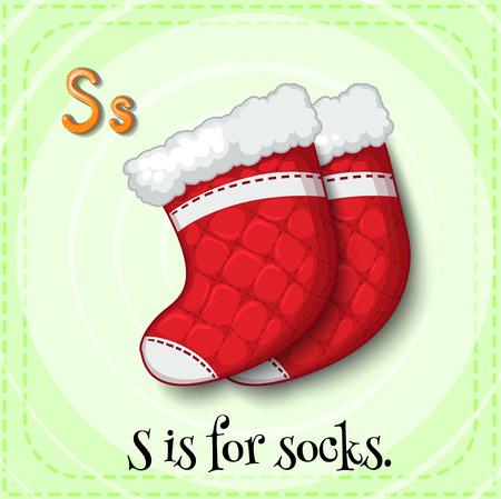 children s: Illustration of a letter S is for socks Illustration