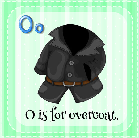 cartoon words: Illustration of a letter O is for overcoat