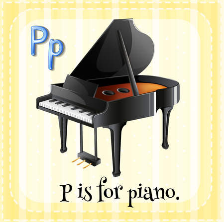 Illustration of a letter P is for piano Vector