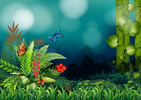 moist: A garden with butterflies Illustration