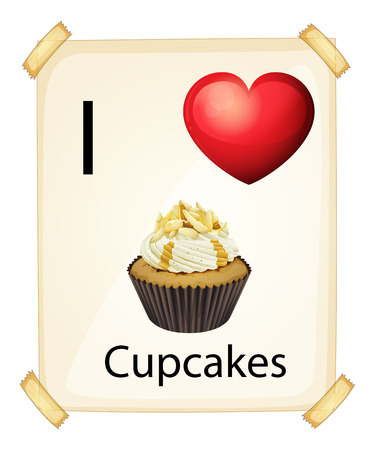 A poster showing the love of a cupcake on a white background Vector