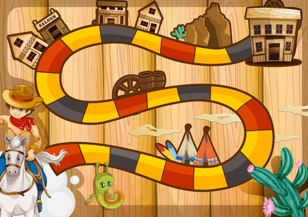 western town: Illustration of a boardgame with western background