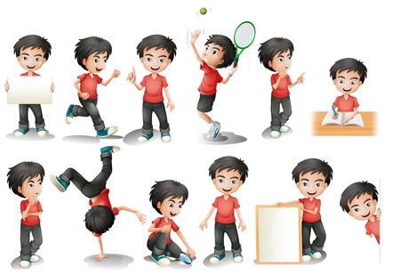 niño: Ilustración de un muchacho de pelo negro en una posición diferente Vectores