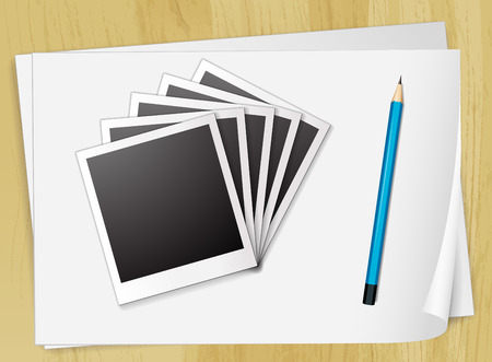 photgraphy: Illustration of photo frames and papers