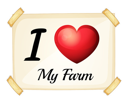 A flashcard showing the love of a farm on a white background Vector