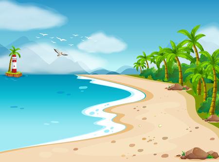 Illustratie van een uitzicht op de oceaan tijdens de dag Stock Illustratie