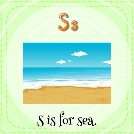 linguistic: Illustration of a letter s is for sea Illustration