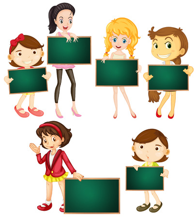 Illustration of girls holding chalkboards Vector