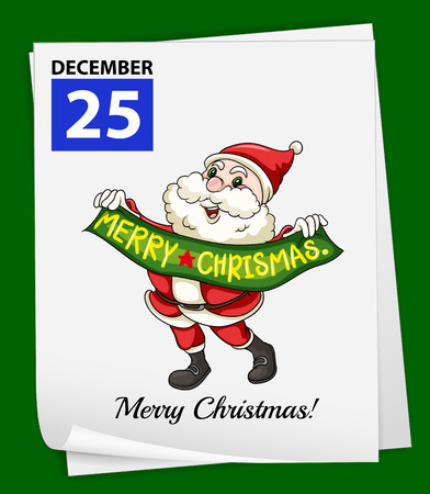 december 25th: A calendar showing the 25th of December on a green background Illustration