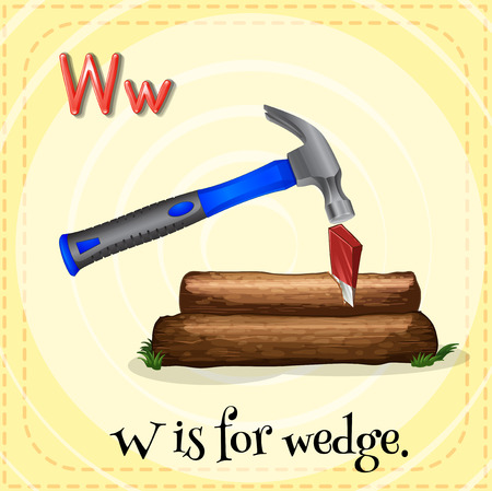 wedge: Illustration of a letter w is for wedge Illustration