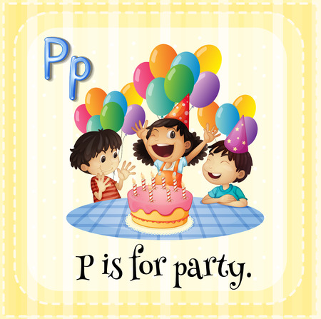 Illustration of a letter P is for party Vector