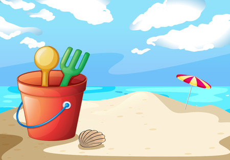 beach toys: Illustration of a bucket of toys on the beach