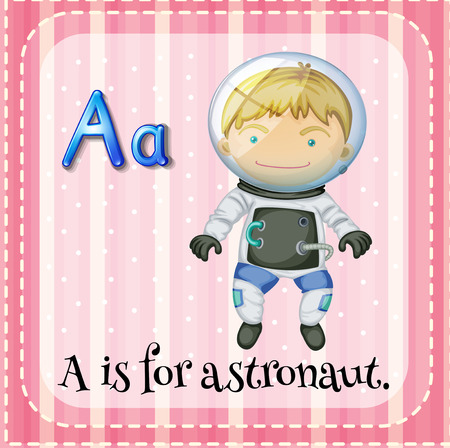 vowel: A letter A for astronaut