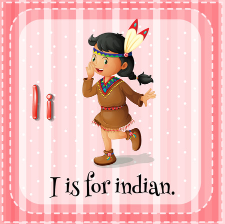 i kids: Illustration of a letter i is for indian