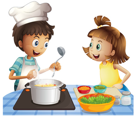 cooking utensils: Illustration of two children cooking