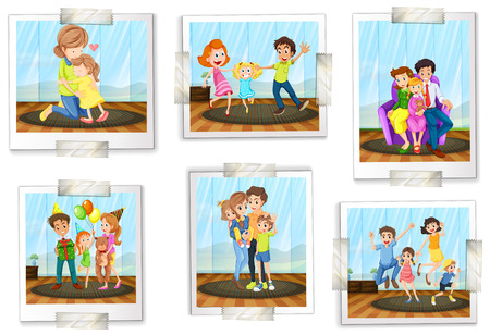 Set of family photos on a white background Illustration