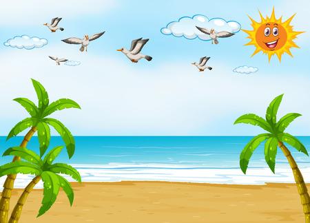 Illustratie van een uitzicht op de oceaan tijdens de dag Stockfoto - 36011752