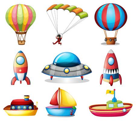 playtime: Illustration of a set of different toys Illustration