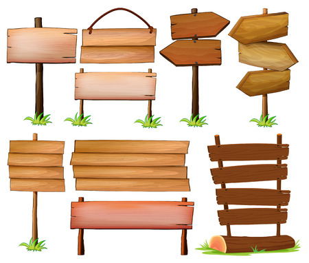letreros: Conjunto de letreros de madera sobre un fondo blanco Vectores
