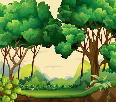 Illustratie van een uitzicht op het bos overdag Stock Illustratie