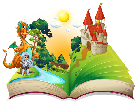 fairytale background: Illustration of a dragon and a knight in the storybook