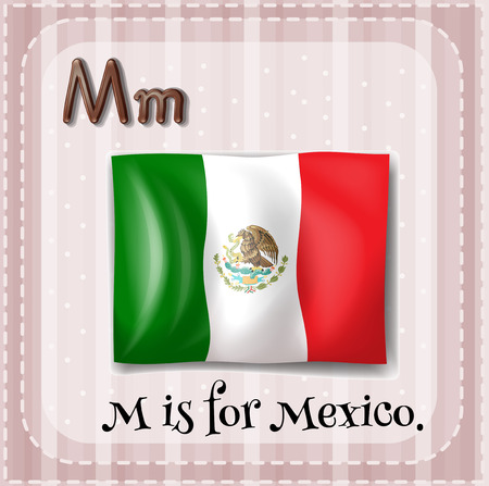 Illustration of a letter M is for Mexico Vector
