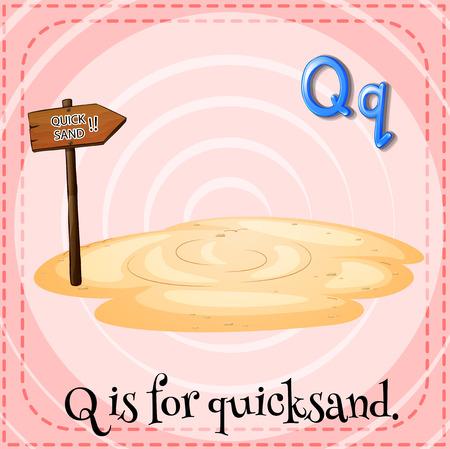 quicksand: Illustration of a letter Q is for quicksad