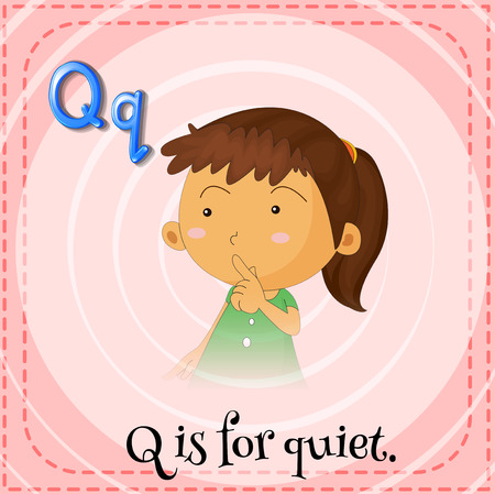 Illustration of a letter q is for quiet