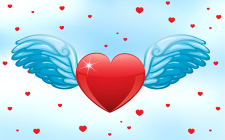 heart with wings: Illustration of a heart with wings