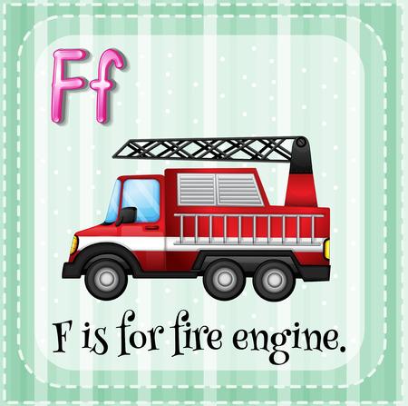 voiture de pompiers: Illustration d'une lettre F est pour le moteur de feu Illustration